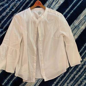 J. Crew Peplum Sleeve White Button Down Blouse